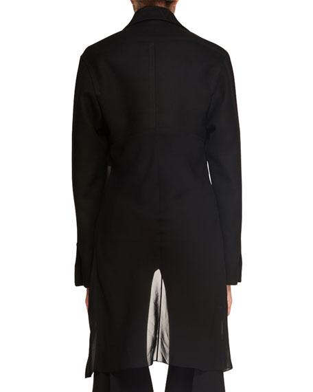 Button-Front Wool-Blend Combo Jacket w/ Chiffon Hem