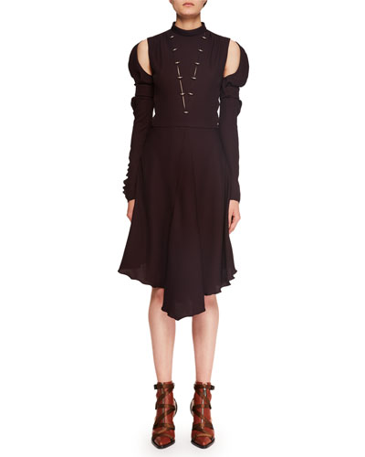 Mock-Neck Cutout-Shoulder Silk Crepe Dress