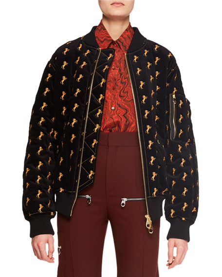 Zip-Front Horse-Embroidered Velvet Bomber Jacket