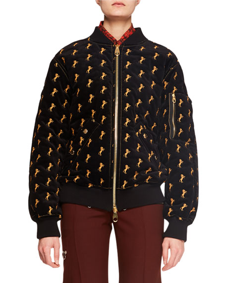 Zip-Front Horse-Embroidered Velvet Bomber Jacket in Black