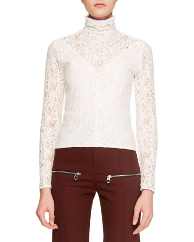 Long-Sleeve Lace Turtleneck Top