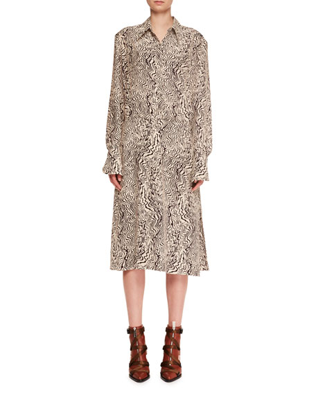 Long-Sleeve Button-Down Wave-Print Silk Crepe Shirtdress