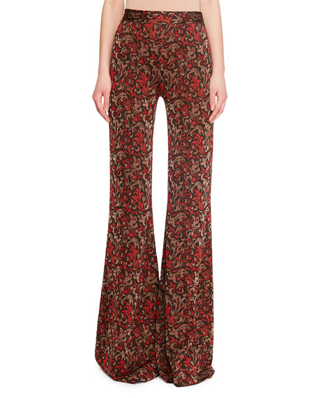 Metallic Jacquard-Knit Flared Pants in Red