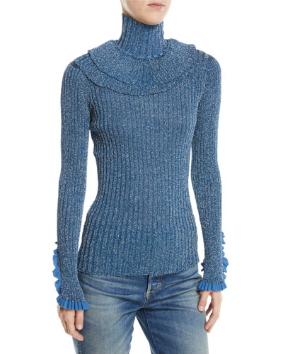 Shimmer-Silk Ruffled Fitted Sweater