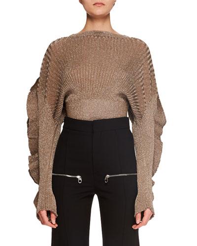 Ruffle-Sleeve Metallic-Ribbed Short Sweater