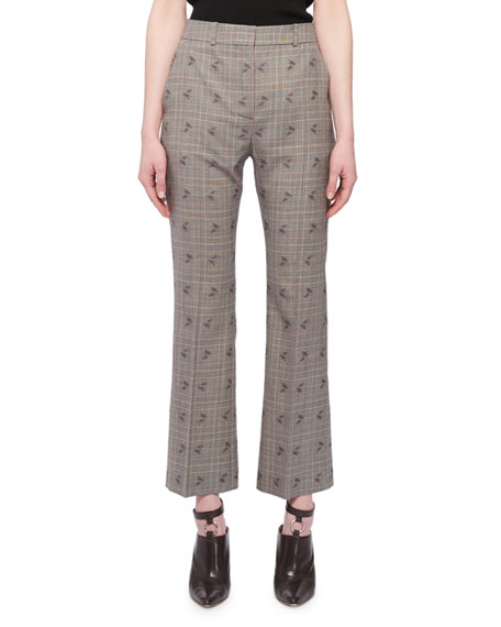 Flared-Leg Cropped Check Floral-Print Wool-Blend Pants