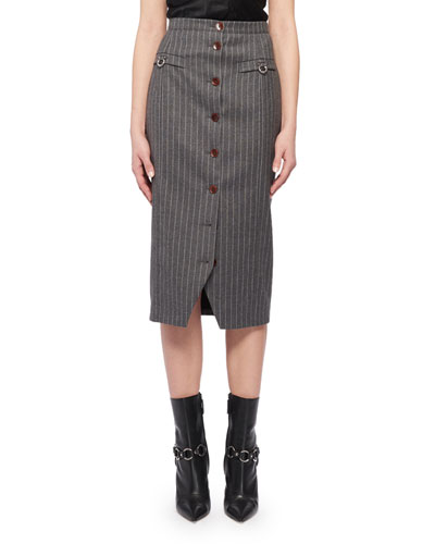 Pinstriped  Button-Front Skirt