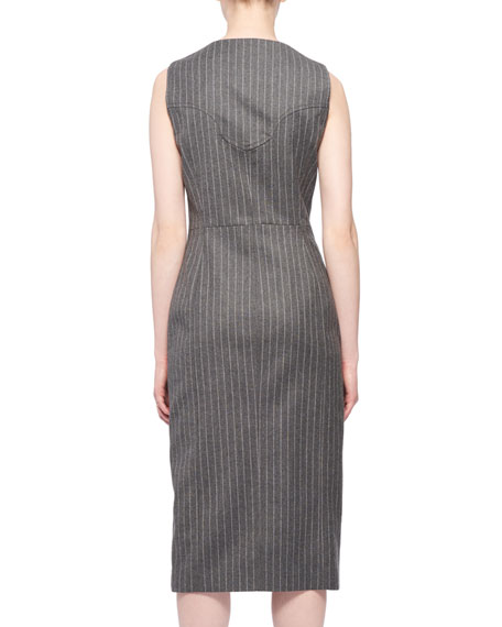 Wool-Blend Dress w/ Pinstripes