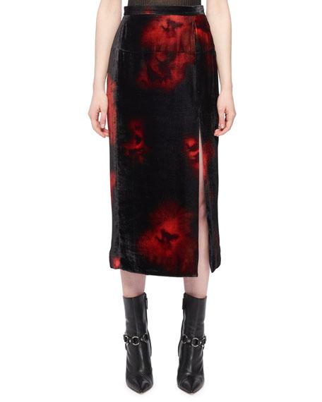 Altuzarra Tie-Dye Floral-Printed Front-Slit Velvet Straight Skirt