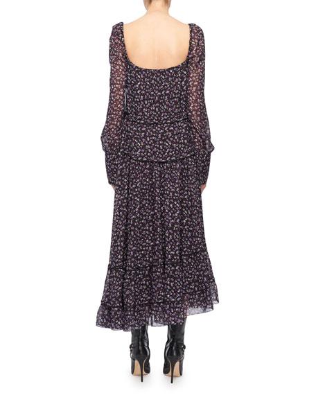Square-Neck Tie-Waist Long-Sleeve Floral-Print Georgette Dress