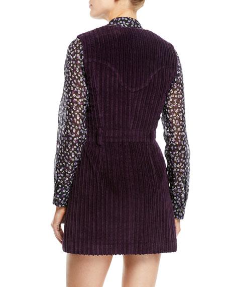 Sleeveless V-Neck Button-Front Ribbed-Velvet Mini Dress