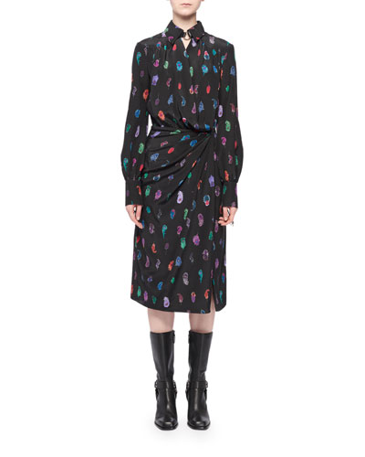 Long-Sleeve Feather-Print Silk Collared Wrap Dress