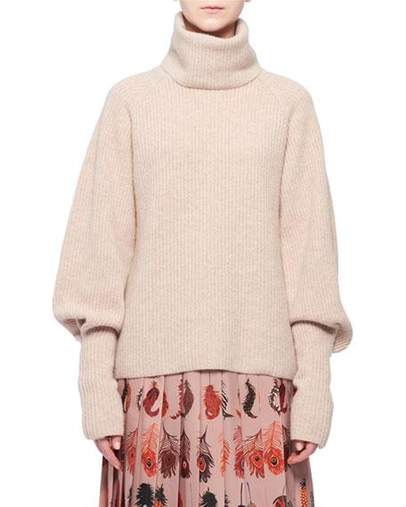 Turtleneck Blouson-Sleeve Rib-Knit Cashmere Sweater in 231 Almond