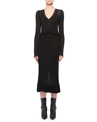 Lurex® Long-Sleeve Dress w/ Flounce Hem