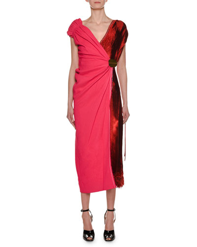 V-Neck Bicolor Mixed-Media Woven Wrap Ankle-Length Dress