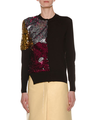 Crewneck Long-Sleeve Sequin Wool Sweater
