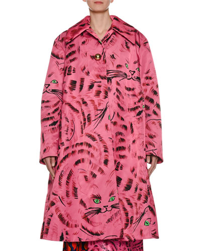 Single-Breasted Cat-Print Oversized Coat