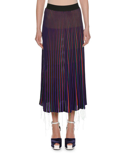 A-Line Striped Knit Midi Skirt w/ Frayed Hem