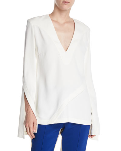 V-Neck Split-Sleeves Asymmetrical-Seams Pebble Crepe Top