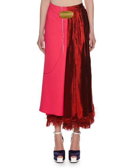 Bi-Fabric A-Line Midi Skirt