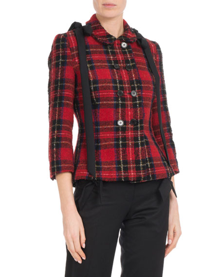 Double-Breasted Fitted Wool Tartan Jacket W/ Shoulder-Bows, Red