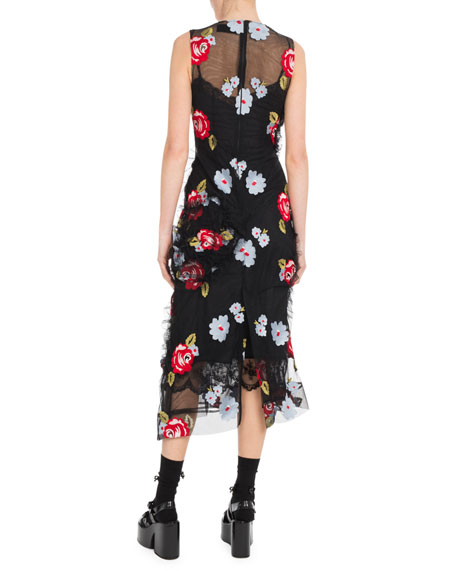 Floral-Embroidery Tulle Sleeveless Midi Dress