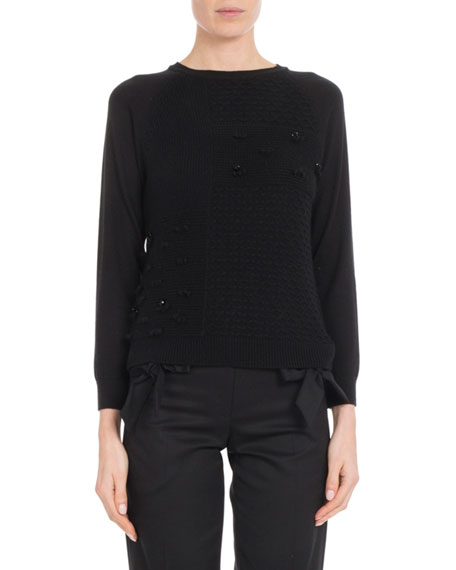 Crewneck Cashmere Knit Patchwork Beaded Sweater