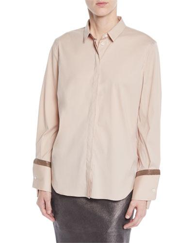Cotton Poplin Shirt w/ Monili Cuffs