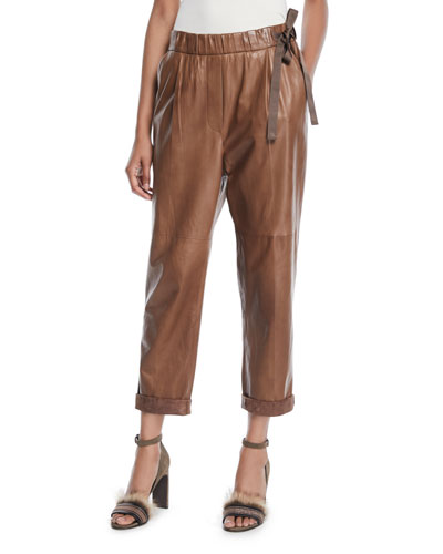 Lamb Leather Cropped Pull-On Pants w/ Side Tie