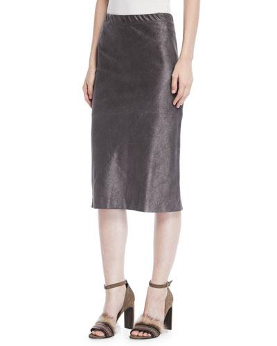 Pencil Skirt in Metallic Suede