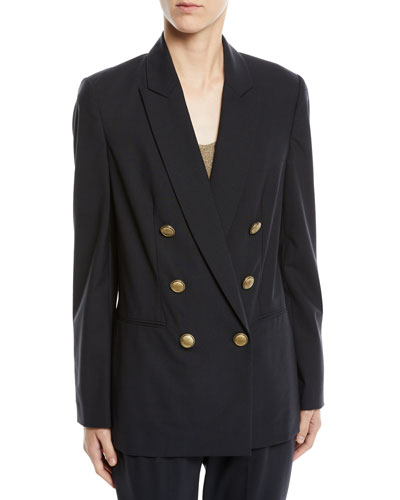 Double-Breasted Crushed Velvet Jacket w/ Golden Buttons