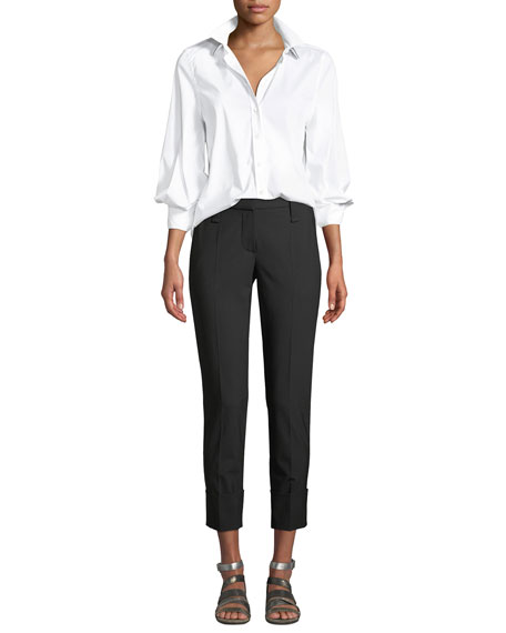 Straight-Leg Lightweight Wool Cuffed Pants