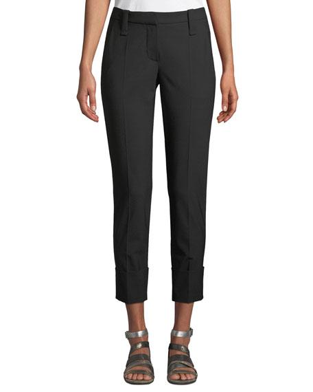 Brunello Cucinelli Straight-Leg Lightweight Wool Cuffed Pants
