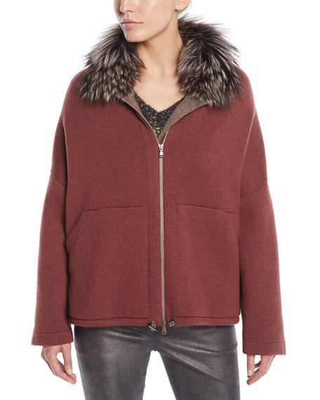 Fox-Fur Collar Zip-Front Cashmere Jacket