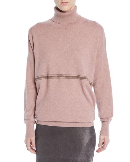 Cashmere Turtleneck Sweater w/ Monili Stripe