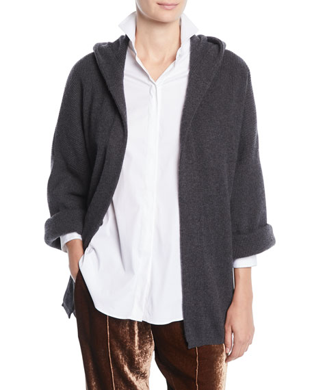 Ribbed Cashmere Hoodie Cardigan w/ Belt