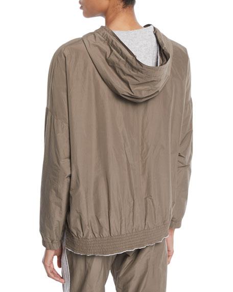 Zip-Front Cashmere Taffeta Reversible Jacket w/ Removable Fox Fur