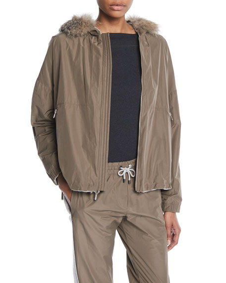 Zip-Front Cashmere Taffeta Reversible Jacket w/ Removable Fox Fur