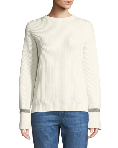 Crewneck Ribbed Cashmere Sweater w/ Monili Cuff