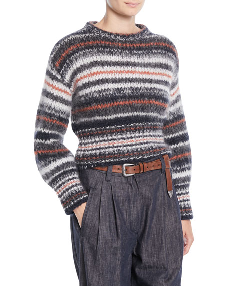 Brunello Cucinelli Crewneck Mohair-Striped Cropped Pullover Sweater