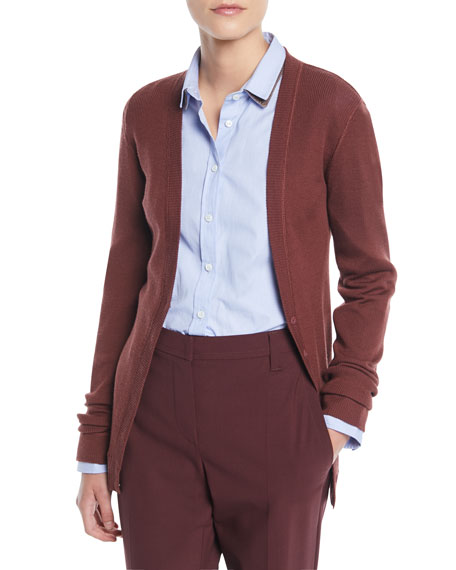 BUTTON-FRONT WOOL-CASHMERE RIBBED CARDIGAN