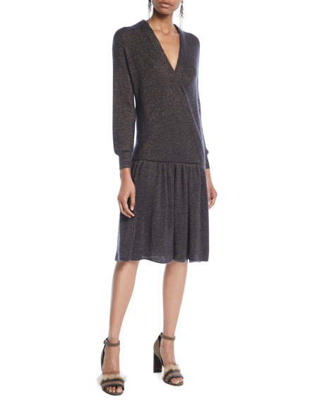 Surplice-Neck Long-Sleeve Dropped-Waist Metallic-Knit Dress