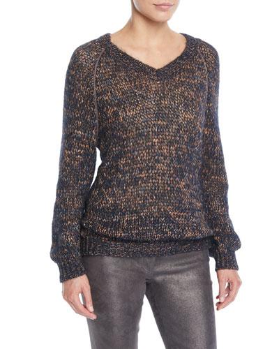 V-Neck Melange Mohair-Alpaca Cable-Knit Sweater w/ Monili