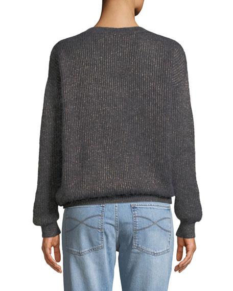 V-Neck Long-Sleeve Metallic Mohair-Alpaca Blend Sweater