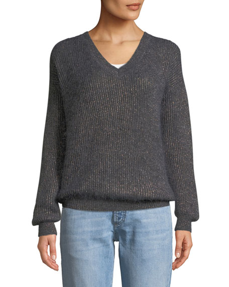 Brunello Cucinelli V-Neck Long-Sleeve Metallic Mohair-Alpaca