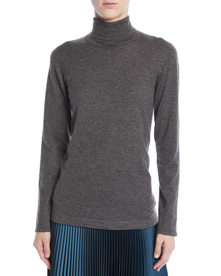 Brunello Cucinelli Speckled Metallic Cashmere Turtleneck Sweater