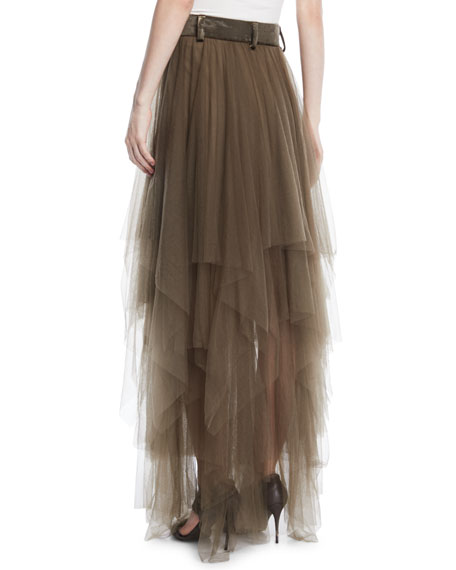 Multilayer Tulle Long Skirt w/ Velvet Waist
