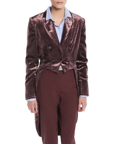 Double-Breasted Crushed Velvet Jacket w/ Tail
