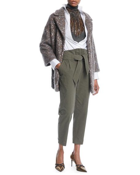 High-Rise Utility Cotton Pants w/ Wrap Belt