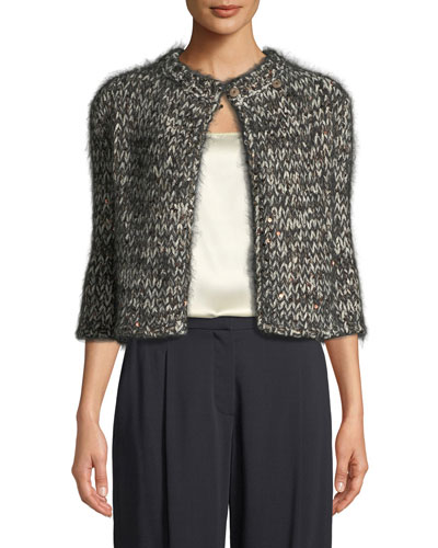 3/4-Sleeve Sequined Mohair-Cashmere Tweed Jacket